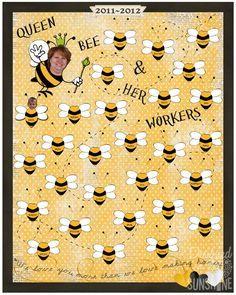 Bee themed class poster for teacher appreciation week.
