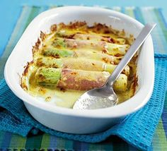 Cheesy leeks & ham.  A low-carb leek, ham and cheese meal in 25 minutes. Now, that's what I'm talking about!