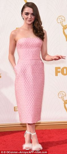 Tottering along: For the Emmy Awards shoe before hand she had donned a towering pair of fluffy heels The Honourable Woman, Maisie Williams Sophie Turner, Best Young Actors, Richard Jenkins, Julie Bowen, Prettiest Actresses, Robin Wright, Emma Thompson, Game Of Thrones