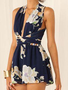 Multicolor Deep V Neck Floral Back Cross Tie Waist Playsuit