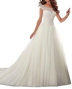 Dressylady Elegant Cap Sleeve Lace Tulle Ball Gown Weddin...