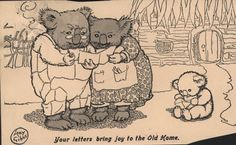 """""""Your Letters Bring Joy to the Old Home"""", by May Gibbs. 1917"""