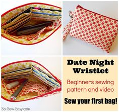 DIY Sewing Gifts For Friends - Easy Date Night Wristlet - Quick and Easy Sewing Projects and Free Pa Beginner Sewing Patterns, Easy Sewing Projects, Sewing Projects For Beginners, Sewing Tutorials, Sewing Crafts, Sewing Tips, Sewing Ideas, Bags Sewing, Sewing Lessons