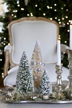 French Country Friday- Gilded Tree - Happy day after Thanksgiving everyone. whitechristmas : French Country Friday- Gilded Tree - Happy day after Thanksgiving everyone. French Country Christmas, Country Christmas Decorations, Christmas Tablescapes, Christmas Centerpieces, Xmas Decorations, Country French, French Chic, Silver Christmas, Simple Christmas