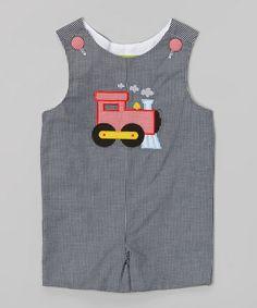 Look what I found on #zulily! Black Train Gingham Appliqué Shortalls - Infant & Toddler #zulilyfinds
