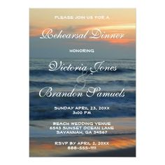 Yellow Wedding Rehearsal Dinner Beach Sunset Tropical Wedding Rehearsal Dinner Card