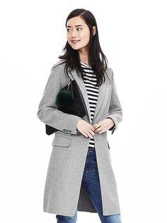 Gray Wool-Blend Long Coat | Banana Republic
