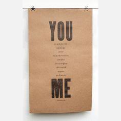 You & Me 11x18 Print Brown art, letterpress, brown