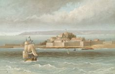Elizabeth Castle - Jersey von English School Museum, Battleship, Castles, Landscapes, Boat, English, School, Painting, Pictures