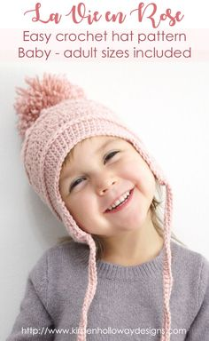 Make a cute ski hat with this free crochet pattern! It's easy to follow, and includes instructions for baby, kids, and adult sizes! This is an easy DIY craft pattern that is simple, yet beautiful, and will keep you warm this winter! #crochethatpattern #crochethat #freecrochetpattern #crochetpatterns #winterhatpattern #crochetforkids #crochetkidshat #wintercrochet #DIYchristmasgift #diygiftideas