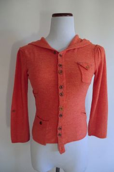 NEW GORGEOUS CARTONNIEV CORAL HOODED CROPPED CARDIGAN XS #Cartonniev #Cardigan