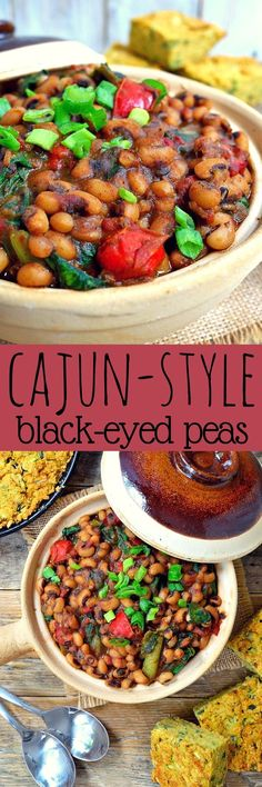 Smoky Cajun-style black-eyed peas will surprise you with how much flavor can come out of such simple ingredients. Makes a great vegetarian or vegan side or main dish.
