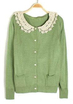 Green Buttons Lace Collarless Long Sleeve Cotton Sweatshirt