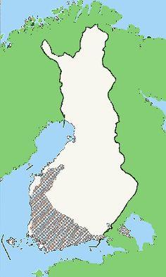 Nuorakeraamisen kulttuurin alue Suomessa  Kuva: Museovirasto