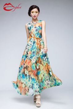 15 Off Bohemian Blue Orange Floral Print Aline Dress by ChineseHut, $149.00