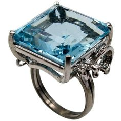 Preowned 1950s Aqua Diamond Cocktail Ring ($5,850) ❤ liked on Polyvore featuring jewelry, rings, cocktail rings, multiple, diamond jewelry, 18k diamond ring, statement rings, star ring and preowned rings
