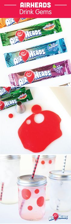 Make these fun and colorful Airheads Drink Gems to easily jazz up your kid's next birthday party! This simple DIY candy craft is an easy way to assign a certain cup to each child. Easily roll out Airheads candy and use cookie cutters to create fun shapes to affix to the inside of each cup. The clear drink that goes inside will turn the color of your Airheads—how cool!