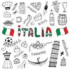 Illustration about Doodle hand drawn collection of Italy icons. Italy culture elements for design. Italia lettering in italian language. Illustration of holiday, italian, italia - 57840914 Travel Icon, Travel Set, Italy Tattoo, Voyage Rome, Travel Doodles, Bullet Journal Travel, Album Jeunesse, Tattoo Style, Snapchat Stickers