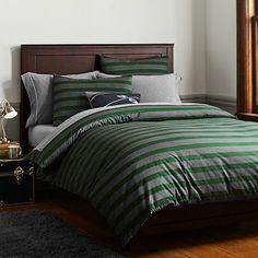 Brooklyn Stripe Duvet Cover + Sham, Green #pbteen