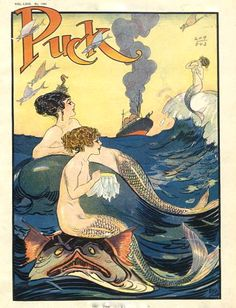 .Puck Magazine Cover Illustration Mermaids