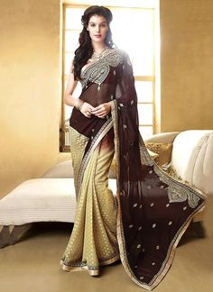 Shop saree online. Buy this gorgonize brown designer saree for festival and party. Shop now! Customization & worldwide free shipping.