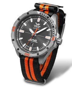 Vostok Europe ALMAZ Space Station Titanium Automatic Gray/Orange Watch NH35A/320H263N