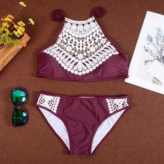 Womens Plus Size Bathing Suits,Dacawin Solid Bikini Set Push-Up Padded Split High Waist Bathing Swimwear Swimsuit