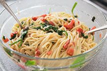 Pasta with Tomato, Spinach, Basil, and Brie ~ Pasta with fresh garden tomatoes, basil, baby spinach, garlic, and brie. ~ SimplyRecipes.com