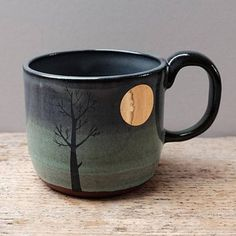 These Flower Pots Will Turn Your Home Into a Total Plant Paradise, Home Accessories, Julia Smith Ceramics Lighter Gold Moon & Tree Mug. Pottery Shop, Pottery Mugs, Handmade Pottery, Ceramic Pottery, Pottery Studio, Slab Pottery, Handmade Ceramic, Ceramic Shop, Ceramic Bowls