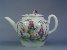 Worcester porcelain teapot and cover; painted in enamels with 3 figures and on the reverse birds, flowers and butterflies; balustre shaped; loop and rib handle with 6 holed strainer; colours of puce, green, yellow, blue and black enamel; flower knob and butterfly and floral spray on low domed cover Materials: porcelain Measurements: 120 (height) Accession number: NWHCM : 1946.70.629