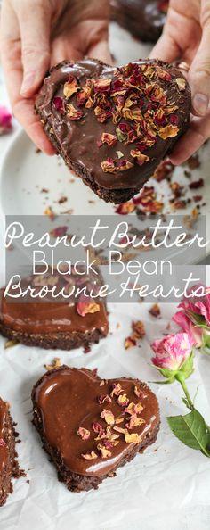 Peanut Butter Black Bean Brownie Hearts #SDOrganicAlmondmilk