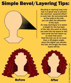 how to bevel hair (Hair Cuts) Curly Hair Tips, Curly Hair Care, Short Curly Hair, Curly Hair Styles, Natural Hair Styles, Long Curly Haircuts, Naturally Curly Haircuts, Frizzy Wavy Hair, Thin Wavy Hair
