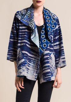 Mieko Mintz - Indigo Stream Shibori Flare Jacket Patron Vintage, Kimono Fashion, Abaya Fashion, Women's Fashion, High Fashion Outfits, Shibori Tie Dye, Linens And Lace, Kimono Fabric, Clothes Crafts