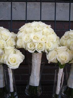 small white rose bridesmaid bouquet