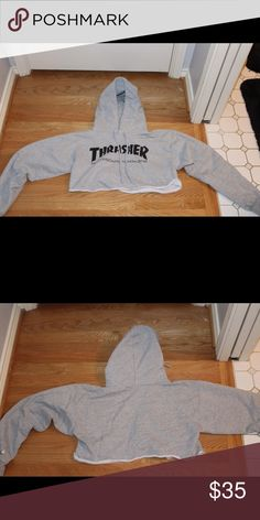 GREY CROPPED THRASHER HOODIE Grey Cropped Thrasher Hoodie. I cropped this hoodie myself. Size (men's) S but fits me perfectly and I'm a S-M in women's sizes. thrasher Tops Sweatshirts & Hoodies