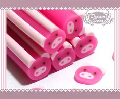 Pink Pig Animal Polymer Clay Cane / Fimo Cane Stick For 3D Nail Art Decoration Miniature Sweet Food / Dessert / Cake Deco F073. $0.99, via Etsy.