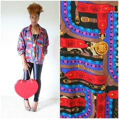 vintage 90s silk COLORFUL BAROQUE chains bomber jacket size L XL by PasseNouveauVintage, $25.50
