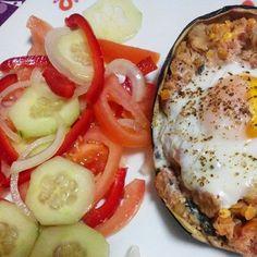 Saudável como um pêro... sem desespero!: Beringela recheada com atum, lentilhas, coentros e ovo