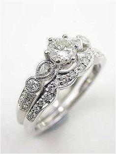 Antique Diamond engagement ring in white gold 18k. Finest design  SLVH ♥♥♥