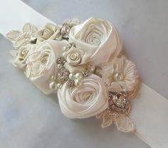 Ivory Bridal Sash Wedding Belt Antique White by TheRedMagnolia Wedding Belts, Wedding Sash, Bridal Sash, Fabric Flower Tutorial, Fabric Flowers, Cream Wedding, Rosettes, Crystal Rhinestone, White Flowers