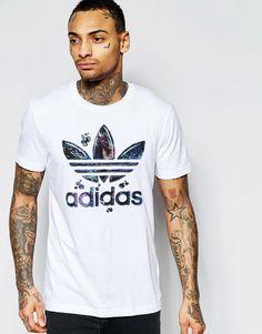 Lækre adidas Originals T-Shirt With Marble Trefoil Logo AJ7113 - White adidas Originals Printed til Herrer til hverdag og fest