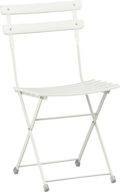 "Diner en Blanc chair: Pronto White Folding Bistro Chair; I love this chair! It folds up to 3.5"" wide it's not too heavy, even thought it is all metal (sturdy)."