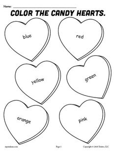 FREE Printable Candy Hearts Valentine's Day Color Words Coloring Page! Color word worksheets like this are great for toddlers, preschoolers, and kindergartners. Practice color recognition, fine motor skills, and more. Get the free Valentine's Day coloring page here --> https://www.mpmschoolsupplies.com/ideas/7914/free-printable-candy-hearts-valentines-day-coloring-page/