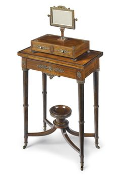 A RUSSIAN NEOCLASSICAL STEEL-MOUNTED MACASSAR EBONY DRESSING TABLE PROBABLY TULA, SECOND QUARTER 19TH CENTURY