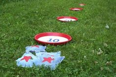 4th of July beam bag toss with old jeans and paper plates.