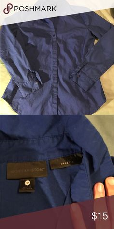 NWOT. Worthington petite dress shirt Tried on after I took the tags off and washed it. My biceps are too big for the arms, making it very tight on me. My loss, your gain. Worthington Tops Button Down Shirts