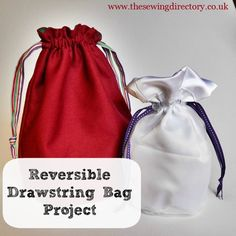 How to sew a reversible drawstring bag - tutorial