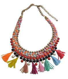Contemporary Thread Tassels Beads Handmade Necklace.