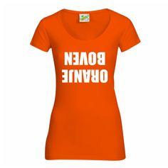 Koningsdag shirt - oranje boven - http://www.digitransfer.info/shop/dames-q-t-shirt-bodyfit-lage-hals-koningsdag-3253#3253_2491