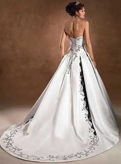 White & black wedding dress